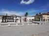 Palmanova - La Piazza Grande o Piazza d'Armi. Circondano la piazza undici statue.